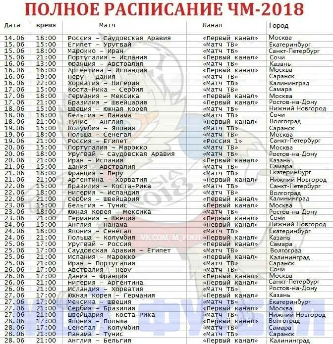 Расписание трансляций ЧМ 2018
